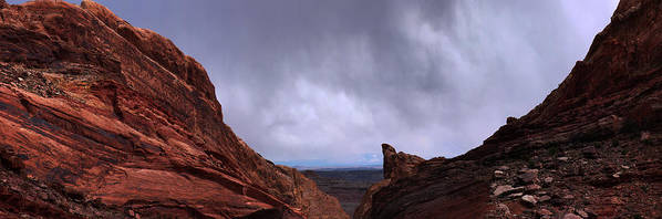 Landscape Poster featuring the photograph Canyon Entrance Distant Storm by Maria Arango Diener