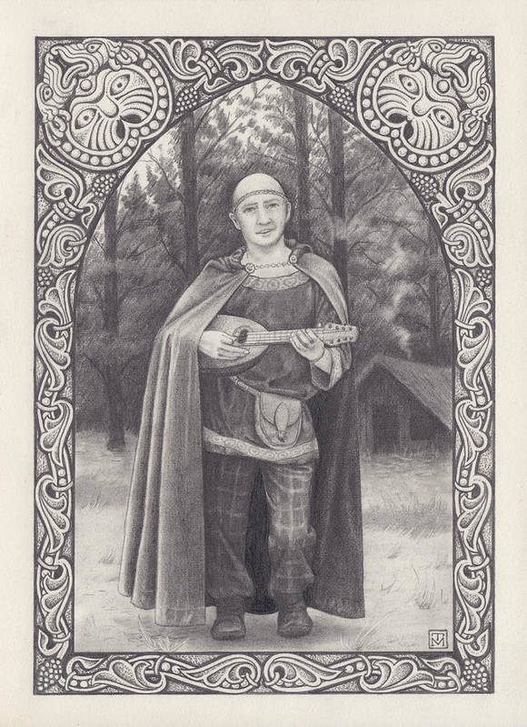 Celtic Bard Poster featuring the drawing Celtic Bard by Tania Crossingham