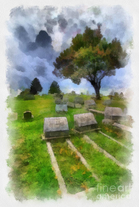 Afterlife Poster featuring the digital art Cemetery Clouds by Amy Cicconi