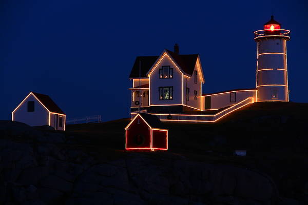 Nubble Lighthouse Poster featuring the photograph Christmas At Nubble by Andrea Galiffi