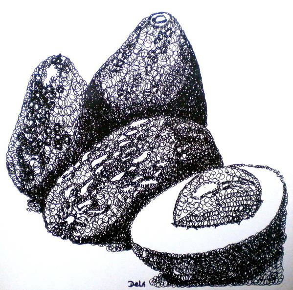 Avocados Poster featuring the painting Curly Avocados by Debi Starr