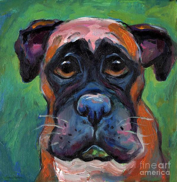 Cute Boxer Dog Art Poster featuring the painting Cute Boxer Puppy Dog With Big Eyes Painting by Svetlana Novikova