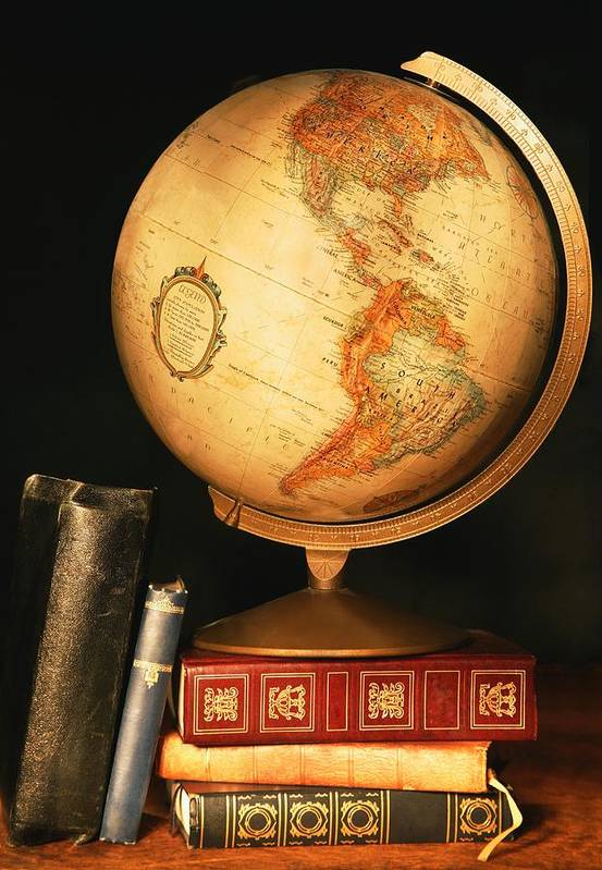 Books Poster featuring the photograph Globe And Books by Don Hammond