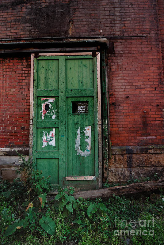 Green Poster featuring the photograph Green Door On Red Brick Wall by Amy Cicconi