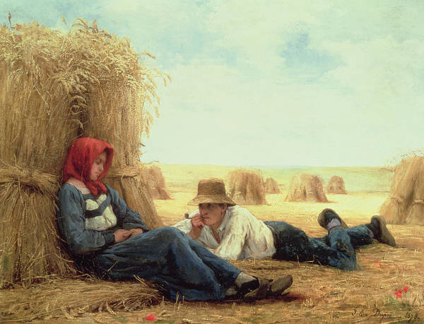 Couple Poster featuring the painting Harvest Time by Julien Dupre