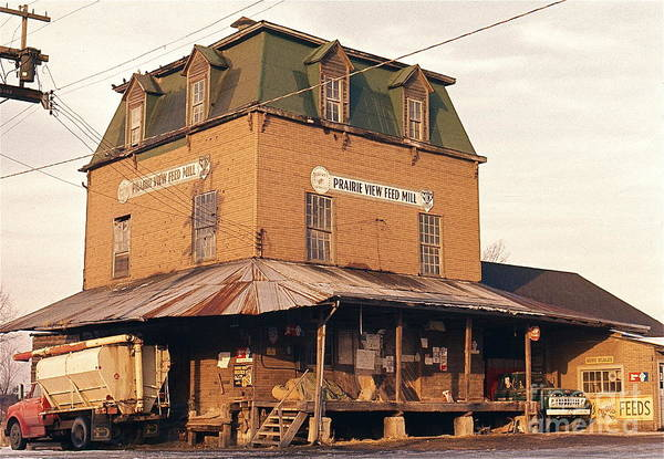 Illinois Feed Mill - The Old Prairie View Feed Mill - Photo Taken In The Early 1970's. Poster featuring the photograph Illinois Feed Mill by Robert Birkenes