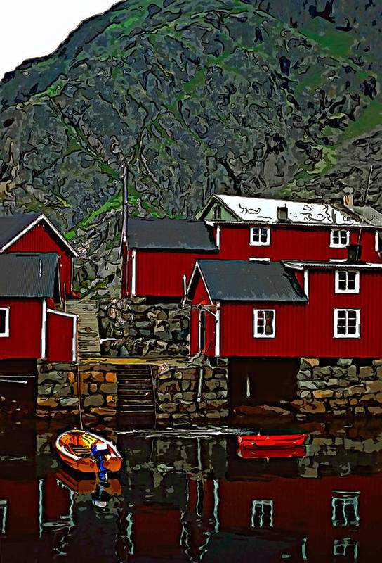 Lofoten Poster featuring the photograph Lofoten Fishing Huts 2 by Steve Harrington