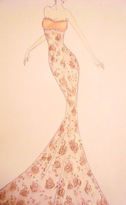 Damask Poster featuring the drawing Mandarin Damask Gown by Christine Corretti