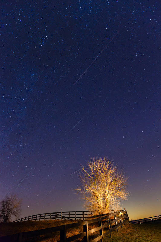 Meteor Shower Poster featuring the photograph Meteor Shower by Alexey Stiop