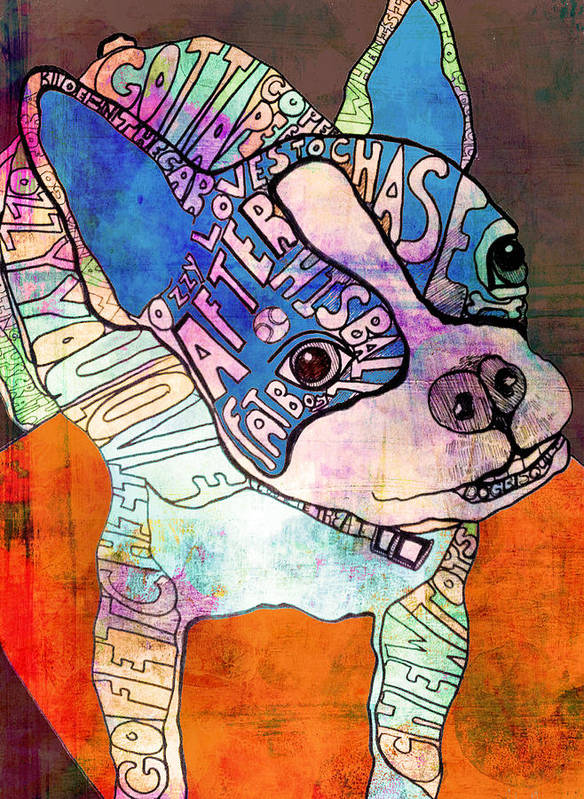 Boston Terrier Poster featuring the painting Ozzy The Wonder Dog by Robin Mead