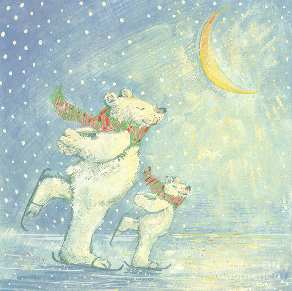 Ice; Smiling; Happy; Bear; Snow; Crescent Moon; Christmas Card; Blizzard; Children's Illustration Poster featuring the painting Skating Polar Bears by David Cooke