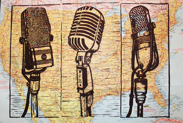 Rca Poster featuring the drawing Three Microphones On Map by William Cauthern