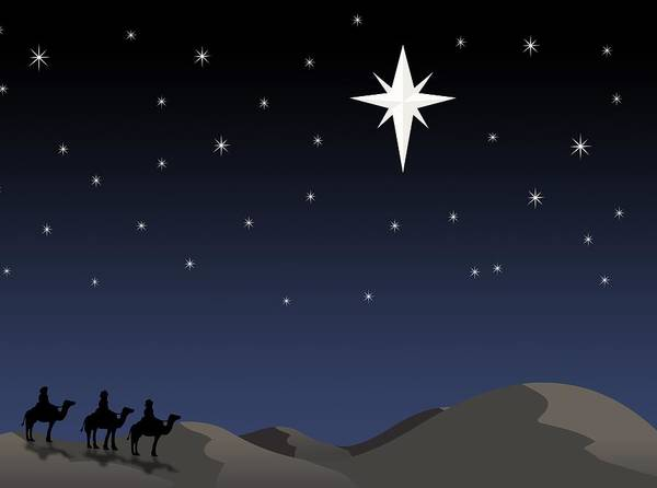 Bethlehem Poster featuring the photograph Three Wisemen Following Star by Daniel Sicolo