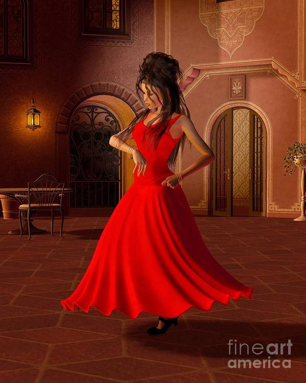 Flamenco Poster featuring the digital art Young Flamenco Dancer by Fairy Fantasies