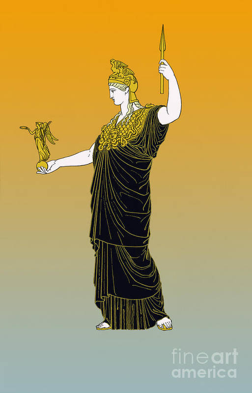History Poster featuring the photograph Athena, Greek Goddess by Photo Researchers
