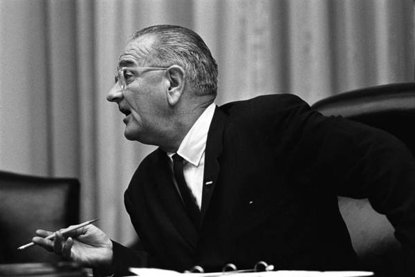 History Poster featuring the photograph President Lyndon Johnson Speaking by Everett