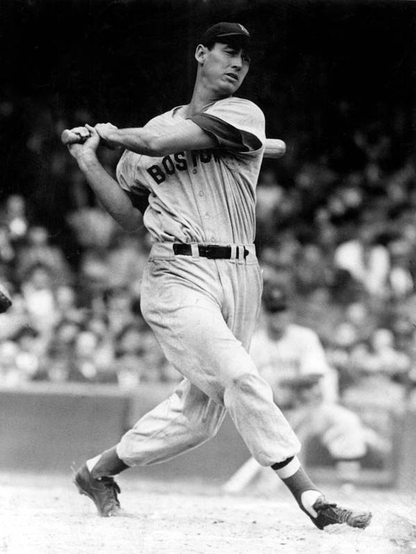 At Bat Poster featuring the photograph Ted Williams, 1946 by Everett