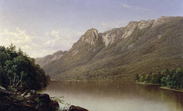 Eagle Cliff Poster featuring the painting Eagle Cliff At Franconia Notch In New Hampshire by David Johnson