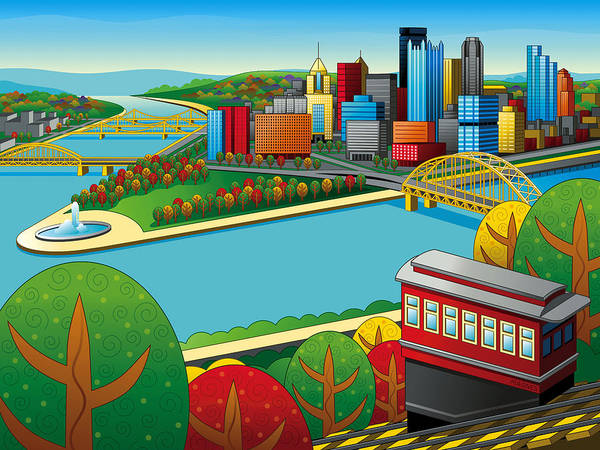 Pittsburgh Poster featuring the digital art Fall From Above Rendered by Ron Magnes