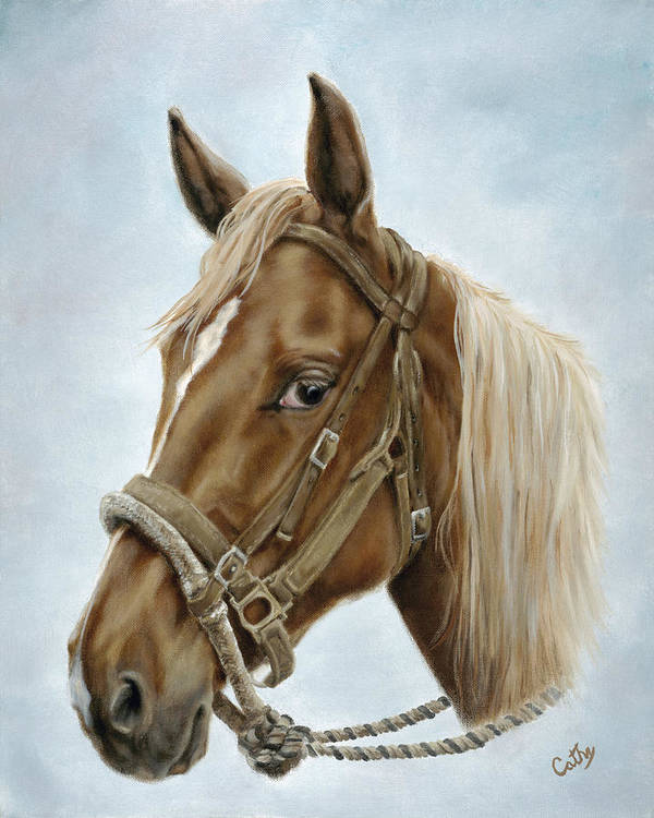 Horse Poster featuring the painting The Boss' Mount by Cathy Cleveland