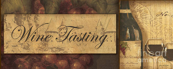 Wine Poster featuring the painting Wine Tasting Collage by Grace Pullen
