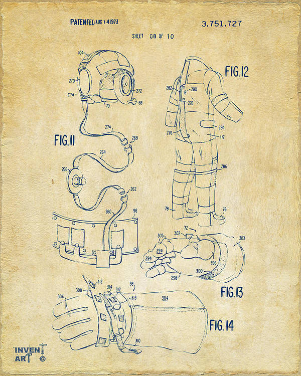 Space Suit Poster featuring the drawing 1973 Space Suit Elements Patent Artwork - Vintage by Nikki Marie Smith