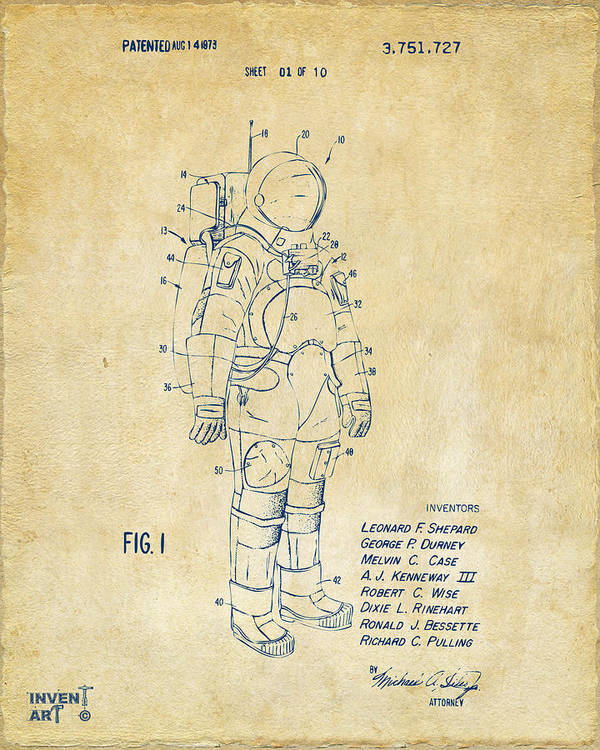 Space Suit Poster featuring the drawing 1973 Space Suit Patent Inventors Artwork - Vintage by Nikki Marie Smith