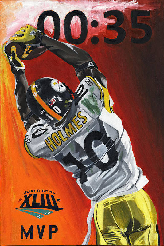 Santonio Holmes Superbowl Mvp Pittsburgh Steelers David Courson Sports Art Poster featuring the painting 35 Seconds by David Courson