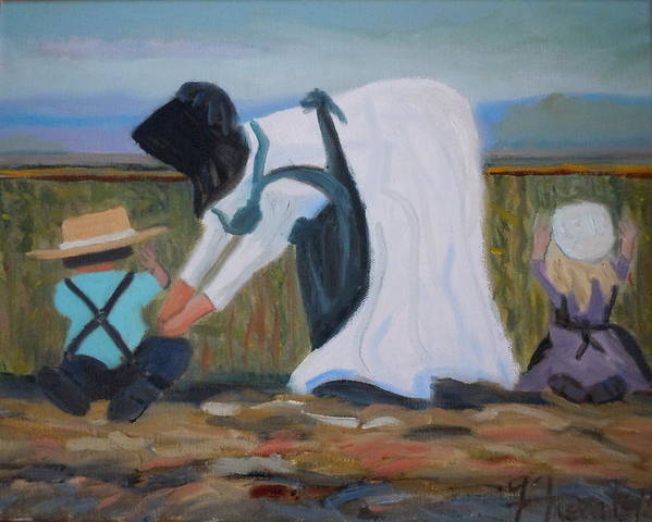 Amish Poster featuring the painting Amish Picking Peas by Francine Frank