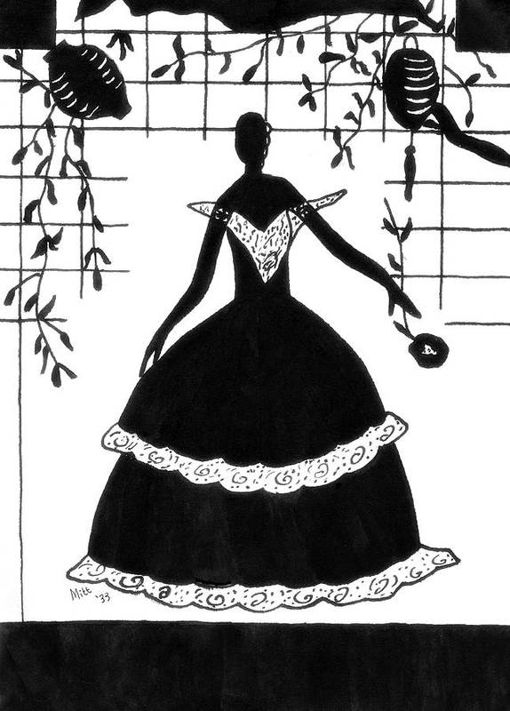 Silhouette Poster featuring the drawing Arriving At The Ball by Patricia Montgomery