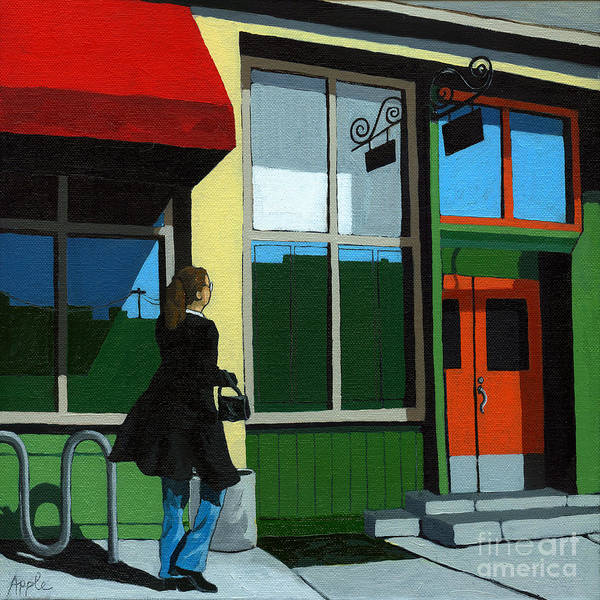 Waman Poster featuring the painting Back Street Grill - Urban Art by Linda Apple