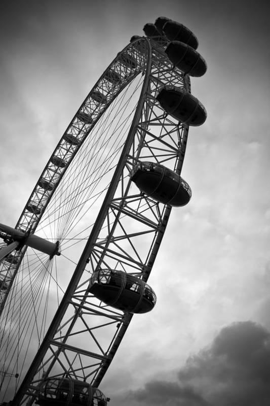 Below London's Eye Poster featuring the photograph Below London's Eye Bw by Kamil Swiatek
