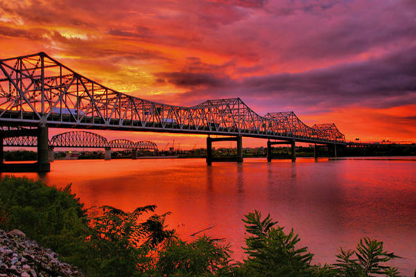 River Poster featuring the photograph Bridges At Sunrise by Steven Ainsworth