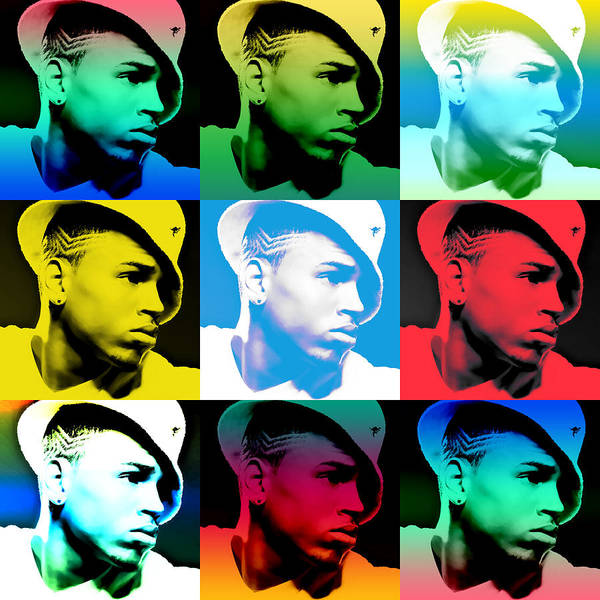 Chris Brown Poster featuring the digital art Chris Brown Warhol By Gbs by Anibal Diaz