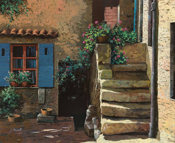 Courtyard Poster featuring the painting Cortile Interno by Guido Borelli