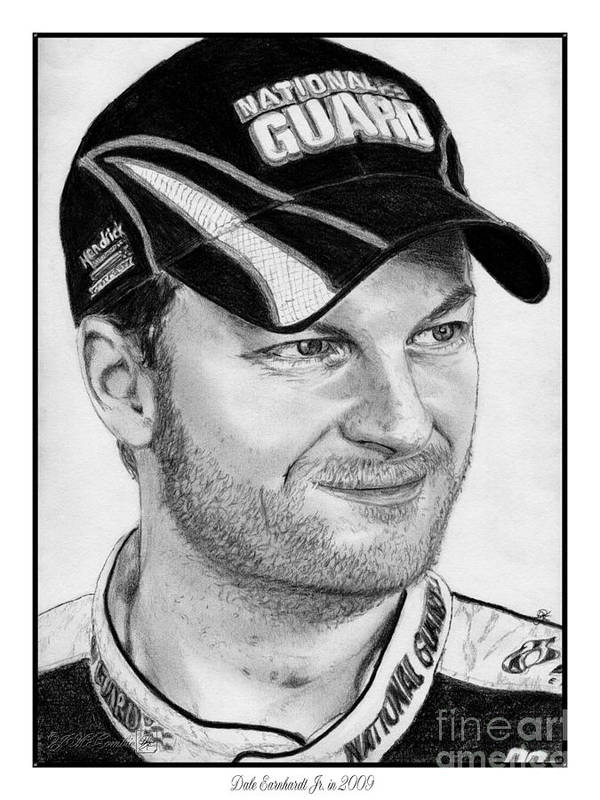 Athlete Poster featuring the drawing Dale Earnhardt Jr In 2009 by J McCombie