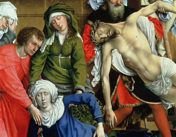 Descent From The Cross Poster featuring the painting Descent From The Cross by Rogier van der Weyden