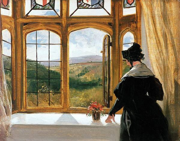 Duchess Of Abercornduchess Of Abercorn Looking Out Of A Window By Sir Edwin Landseer (1802-73) Poster featuring the painting Duchess Of Abercorn Looking Out Of A Window by Sir Edwin Landseer