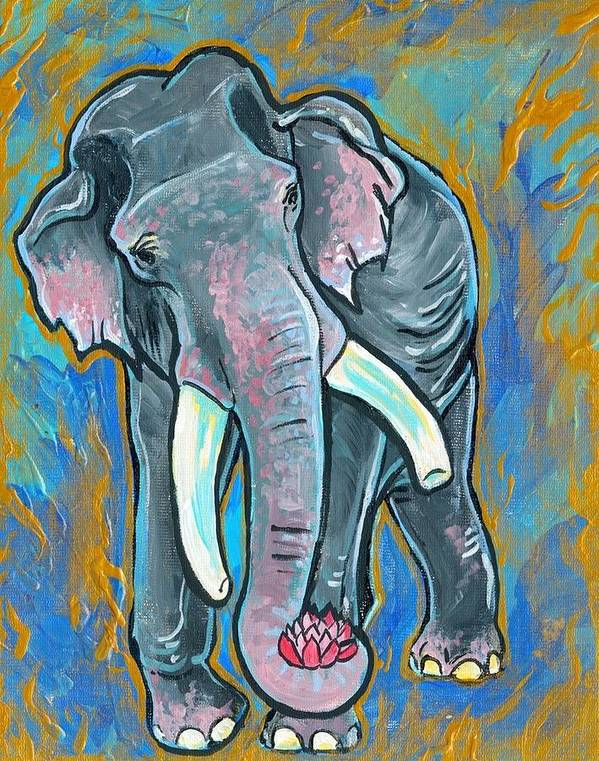 Elephant Poster featuring the painting Elephant Spirit Dreams by Jenn Cunningham