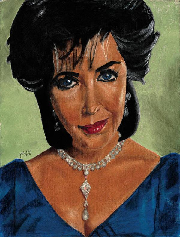 Elizabeth Poster featuring the pastel Elizabeth Taylor And La Paragrina Pearl by Jeffrey J Steinberg
