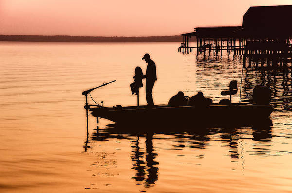 Fishing Poster featuring the photograph Fishing With Daddy by Bonnie Barry