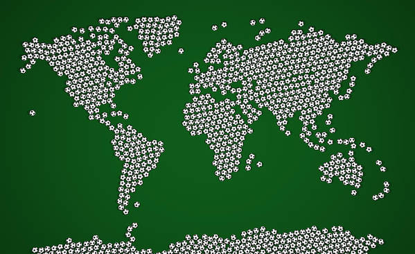 Map Of The World Poster featuring the digital art Football Soccer Balls World Map by Michael Tompsett