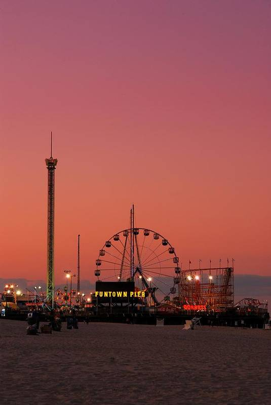 Funtown Pier Poster featuring the photograph Funtown Pier At Sunset II - Jersey Shore by Angie Tirado
