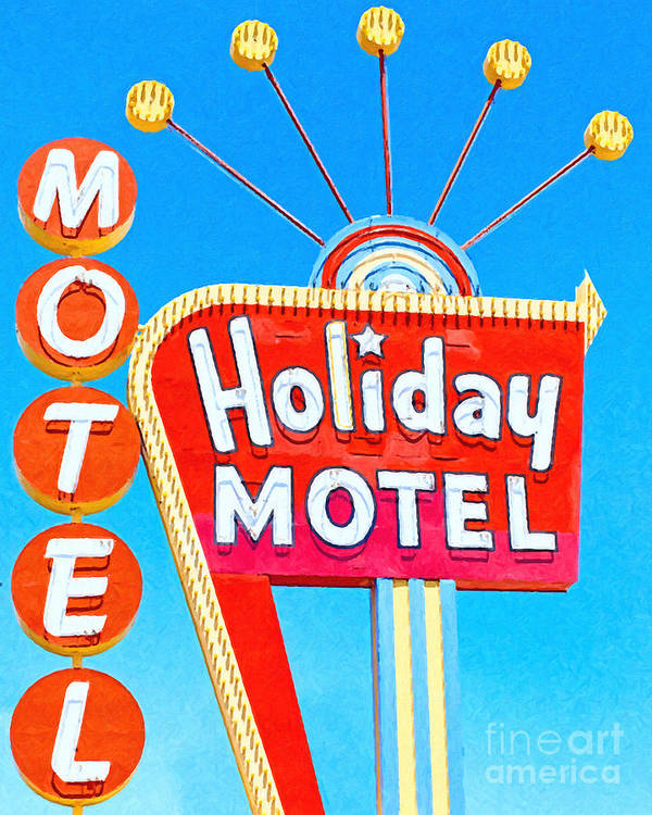 Las Vegas Poster featuring the photograph Holiday Motel Las Vegas by Wingsdomain Art and Photography