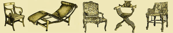 Regency Poster featuring the drawing Horizontal Poster Of Chairs In Sepia by Adendorff Design
