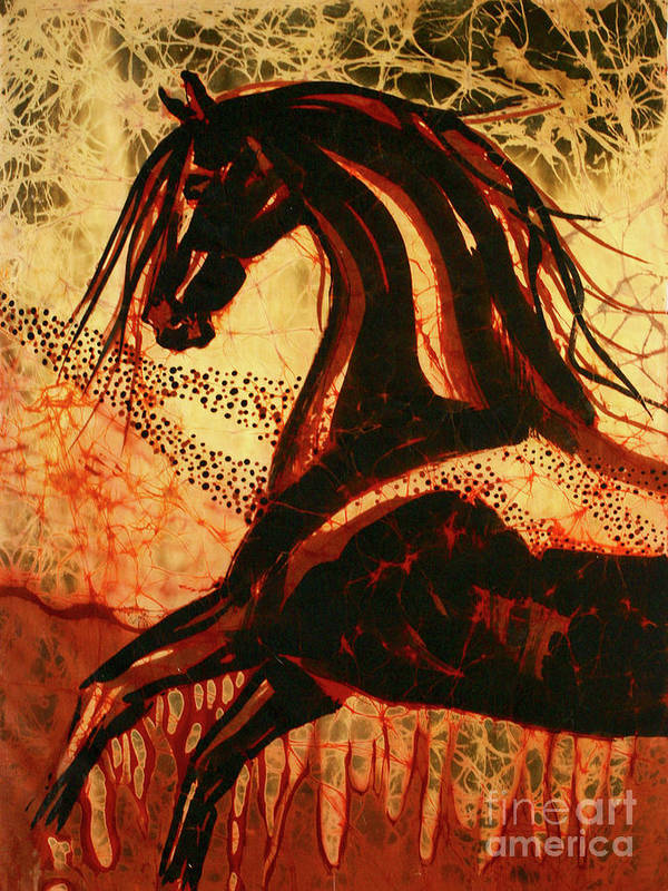 Equine Poster featuring the tapestry - textile Horse Through Web Of Fire by Carol Law Conklin