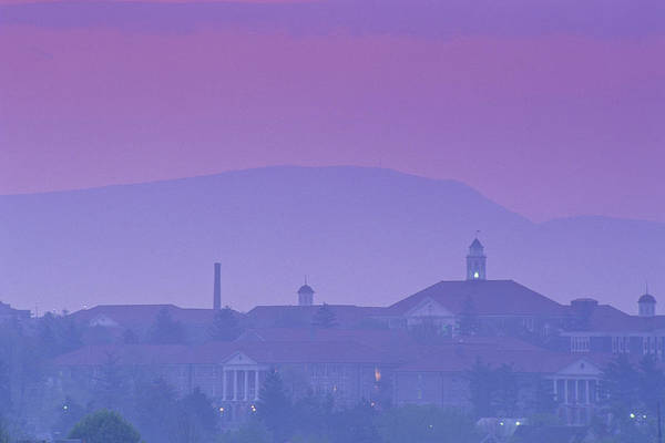 Dusk Poster featuring the photograph James Madison University At Dusk by Kenneth Garrett