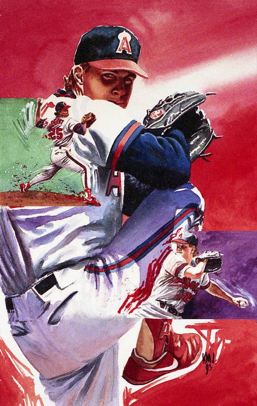 Baseball Poster featuring the painting Jim Abbott by Ken Meyer jr