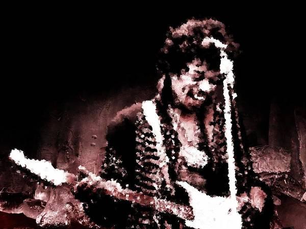Jimi Hendrix Poster featuring the digital art Jimi by Andrea Barbieri