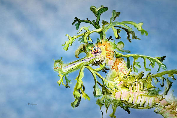 Animal Art Poster featuring the painting Leafy Sea Dragon by Tanya L Haynes - Printscapes